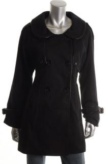 Epic by Lori Glazer New Black Wool Patent Trim Double Breasted Coat