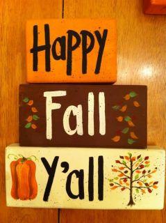 Happy Fall YAll Wood Block Sign Halloween Autumn Decor Hand Painted