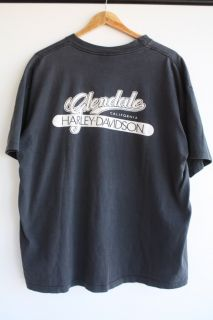 Vtg 1991 Harley Davidson Glendale T Shirt L XL Fishing on Motorcycle