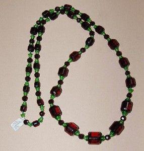 Vintage Cherry Amber Bakelite Graduated Cylinder Bead Crystal Flapper