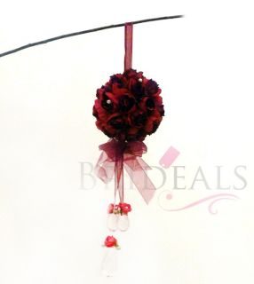 5X Silk Rose Wedding Flower Kissing Ball Arch Decoration Dark Red w
