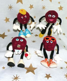 Set of 4 California Raisins 5 Hardee 1988 Soft Toy Stuffed Doll