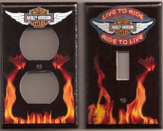 Harley Davidson Live to Ride Flames Light Switch and Outlet Cover Set