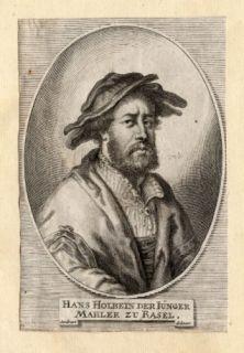 Antique Portrait Print Hans Holbein Sandrart 1675