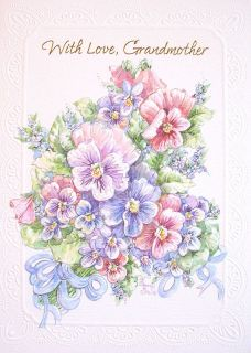 Happy Birthday Grandmother with Love Purple Pink Pansy Flowers