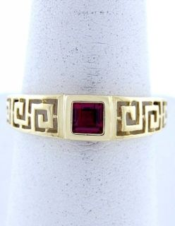 10K YELLOW GOLD SYNTHETIC PRINCESS 1 4ct RED RUBY SOLITAIRE GREEK RING