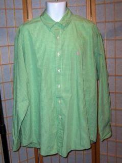 Ralph Lauren Sz XL Blake Green White Long Sleeve Shirt