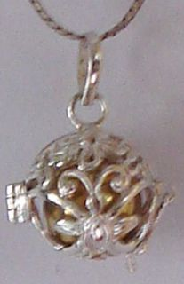 Silver Flower Rose Chime Harmony Ball Necklace Pendant