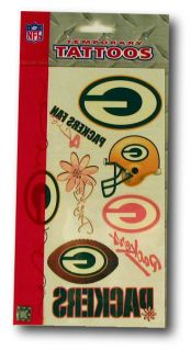Green Bay Packers Girls Womens Temporary Tattoos