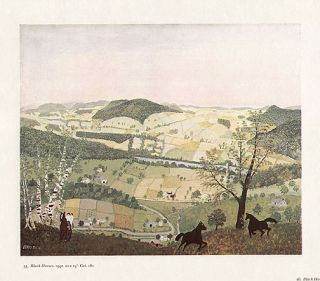 Grandma Moses Print Beautiful Countryside Black Horses