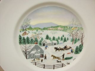 Grandma Moses Collectors Plate Out for the Christmas Tree Anna Mary