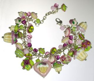 Pink Lime Green Cupcake Present Celebration Bracelet Packed with Glass