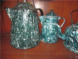 Graniteware Chrysolite Green Coffee Pot Enamelware Antique