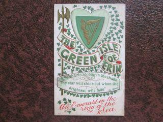postcard ST PATRICKS DAY Harp The Green Isle of Erin Ireland 1911
