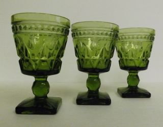 Vintage 1960s Indiana Green Glass Colony Park Lane Water Wine Goblet