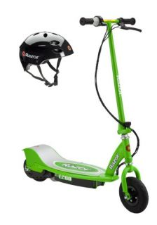 E200 Electric Motorized Kids Scooter Green Youth Helmet Black