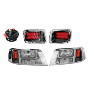 EZ Go TXT Chrome Light Kit Golf Cart Headlight Taillight Kit