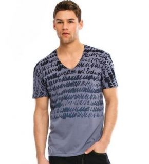 Men Scribble Stripe V Neck Graphic Tee T Shirt Top M L