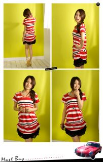 C568 Japan Fashion Stripe Crease Bottom Tee Red
