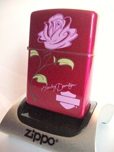 harley davidson red pink rose zippo lighter org case