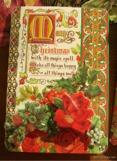 Studio Die Cut Christmas Roses Floral Greeting Cards Victorian