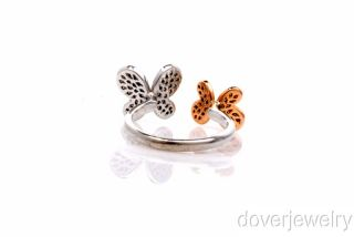 Estate Diamond 14k Gold Double Butterfly Band Ring
