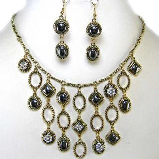 Chunky Multi Chain Crystal Hematite Bead Gold Bib Costume Jewelry