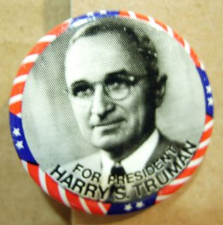 Harry S Truman For President campaign pinback button Excellent