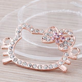 100Pc Rose Gold Hello Kitty Crystal Bracelet Connector Charms Findings