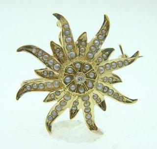 Victorian 14k Gold Diamond Pearl Brooch Pin Pendant