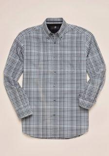 Hart Schaffner Marx Mens Grey Tattersall Sport Shirt