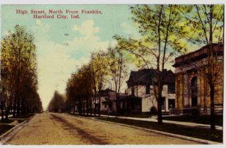 1916 Hartford City Indiana Ind Postcard High St Homes