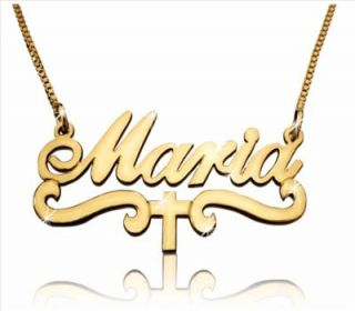 Yellow 14k Gold Name Necklace Maria Cross Charm Jewelry