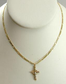 14k Yellow Gold Pendant Necklace Crucifix Figaro 18