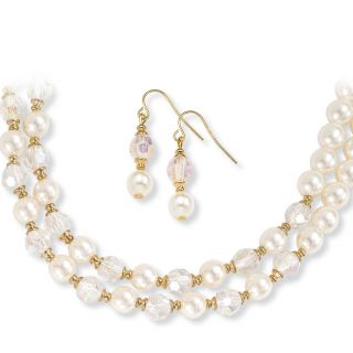 Gold Plated Crystal and Pearls Simulated Necklace and Earring Jewelry