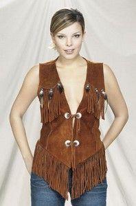 New Ladies Western Brown Suede Leather Vest
