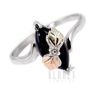Black Hills Sterling 12K Gold Ring w Onyx Size 8