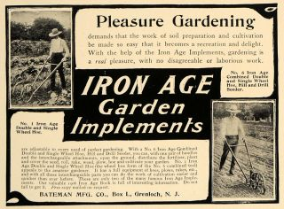 1906 Ad Iron Age Garden Implements Tools Seeder Hoe   ORIGINAL