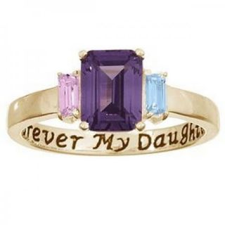 Personalized Sterling Silver Daughters Purity Birthstone Ring   Silver