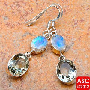 Green Amethyst Moonstone 925 Sterling Silver Earrings 1 7 8 Jewelry