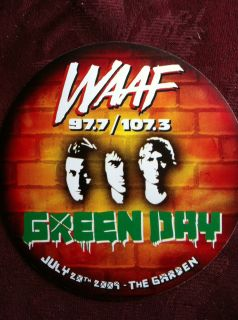 Green Day Tour promo sticker WAAF th Boston Garden July 20th 2009