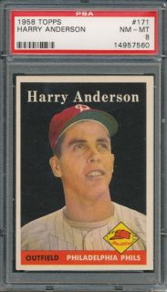 1958 topps 171 harry anderson psa nm mt 8 7560