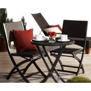 Resin Wicker 3 Piece Bistro Set Outdoor Patio Deck Furniture NICE