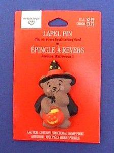 MOC HALLMARK Pin HALLOWEEN Bear TRICK or TREAT Witch Costume w PUMPKIN