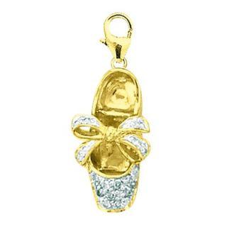 EZ Charms 14K Yellow Gold Diamond Ballet Slipper Charm