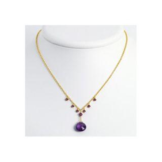 Amethyst Purple Crystal Necklace   16 Inch  Lobster Claw