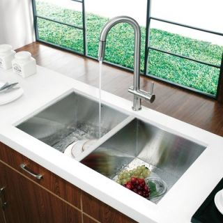 Vigo 32 x 19 Undermount Double Bowl Kitchen Sink and Faucet in Satin