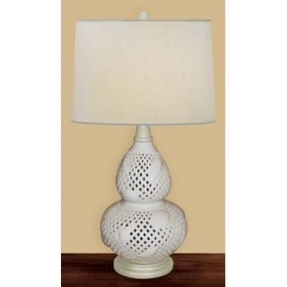 JB Hirsch 24 Open Shell Porcelain Table Lamp in White