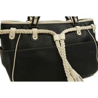 Piel Womens Braided Belt Shoulder Bag in Black with Ivory Trim
