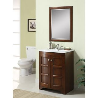 Carolina Accents Cooper Mirror and 24 Vanity Set in Walnut